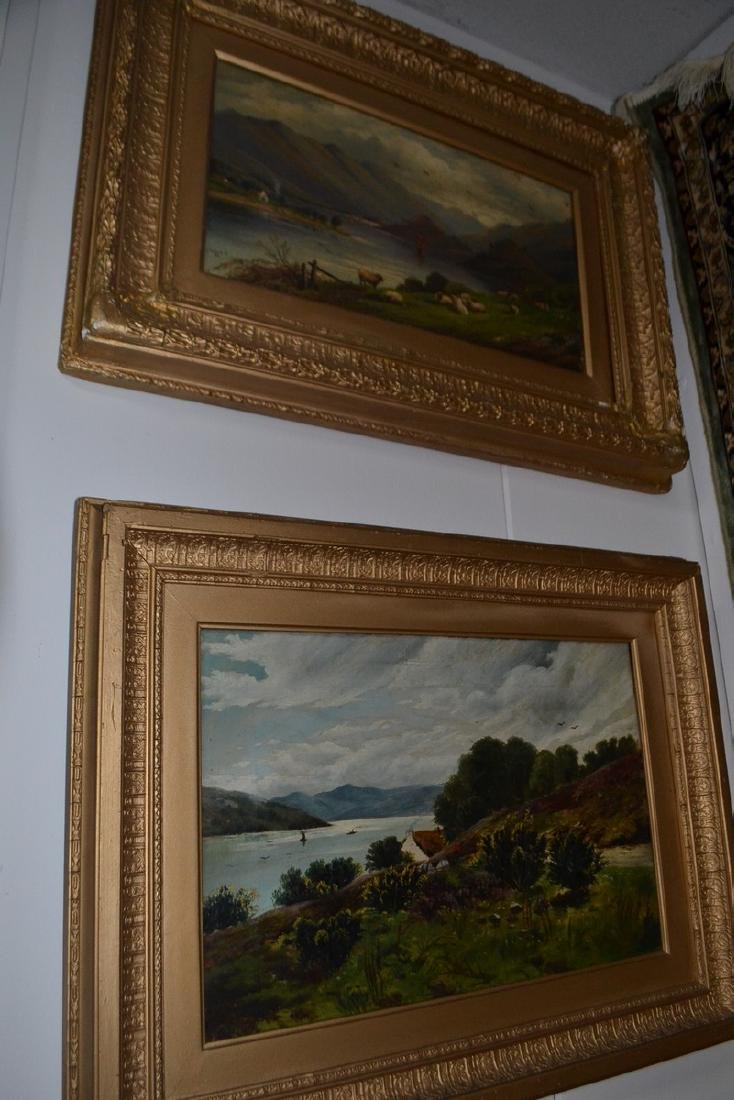 Two late 19th century gilt framed river scenes in oil,