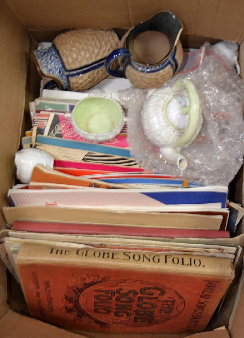 Box of sheet music, child sized teaset, Royal Doulton