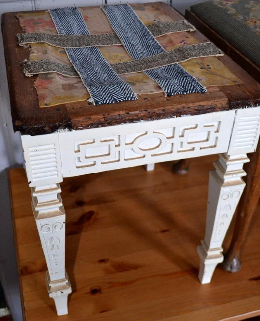 Old White painted stool