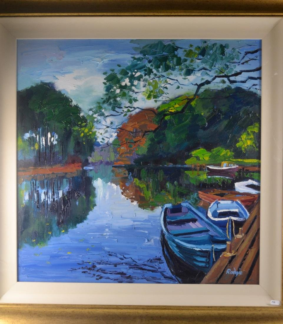 LYN RODGIE ORIGINAL oil on canvas 'Row boats in Autumn'