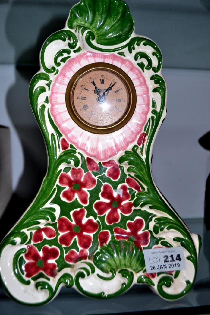 Hand painted ceramic mantle clock in the style of