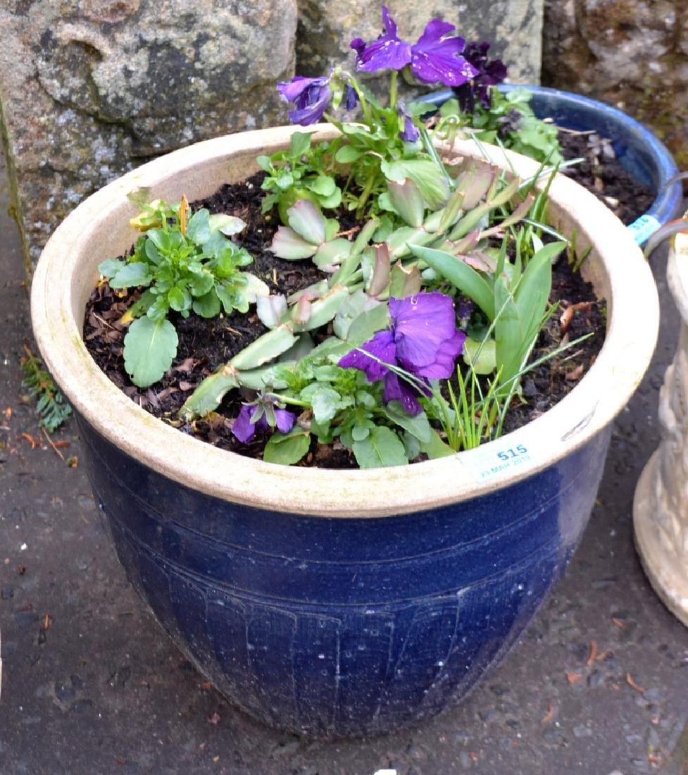 Modern blue ceramic garden planter with pansies H 27cm