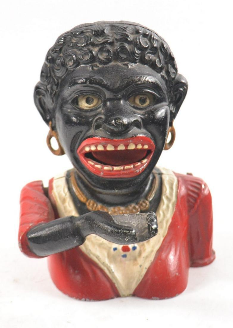 Vintage Old Jolly Black lady cast iron mechanical money