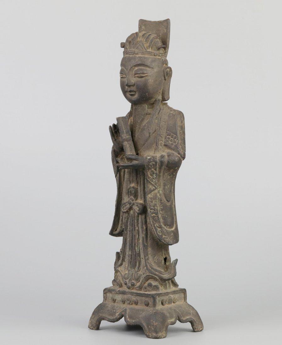 Ming Dyn. Bronze Immortal Statue - 2