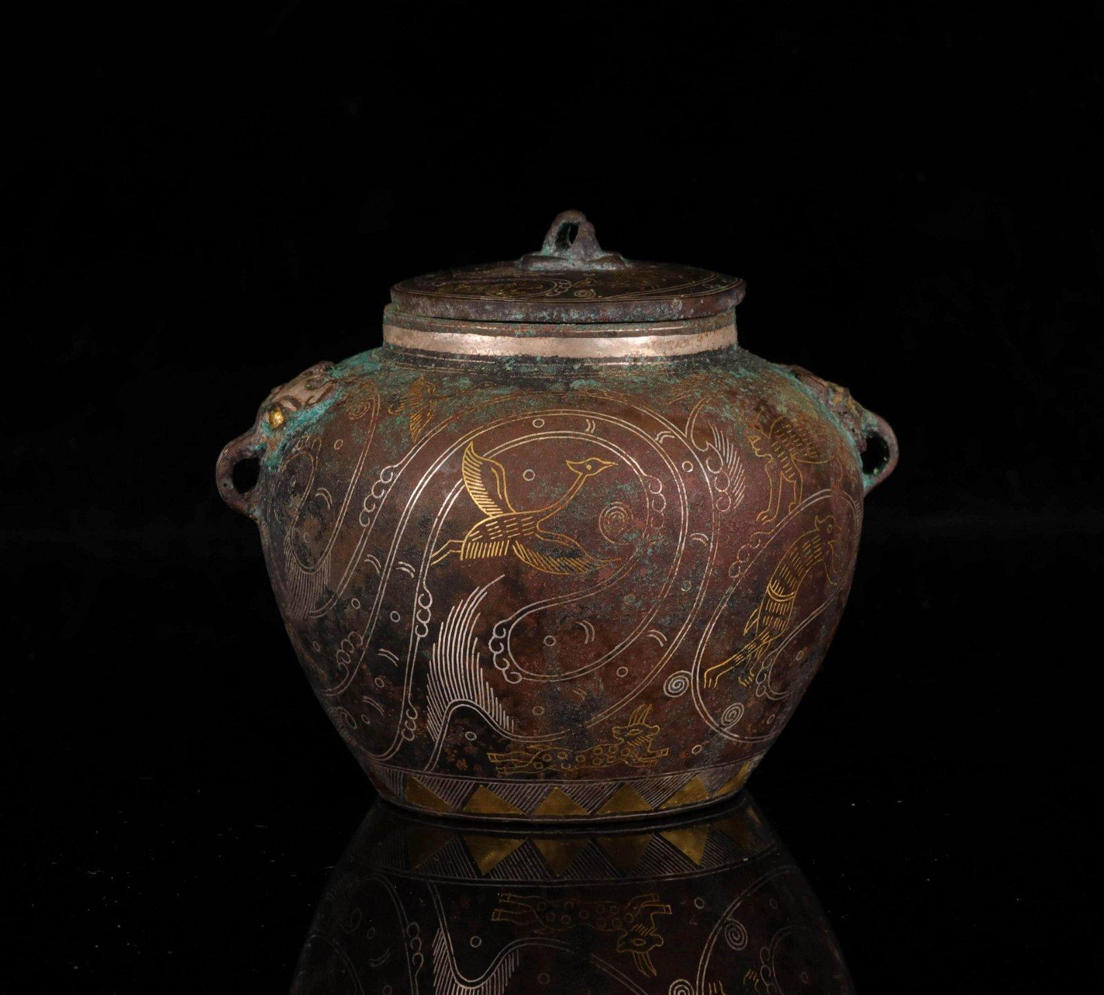 CHINESE ANTIQUE BRONZE JAR