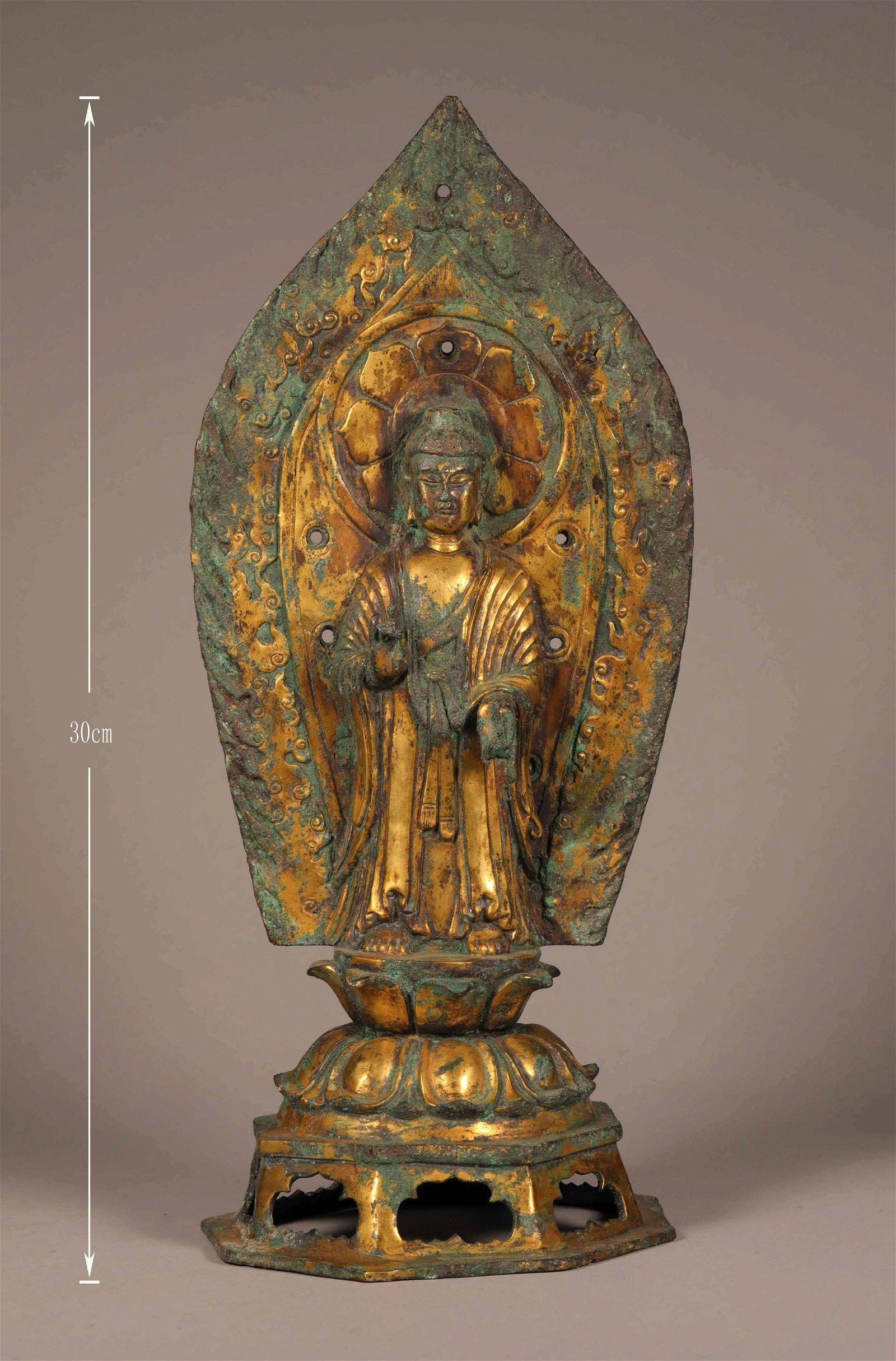 CHINESE GILT BRONZE BUDDHIST STATUE