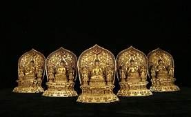 FIVE ANTIQUE GILT BRONZE BUDDHA STATUES