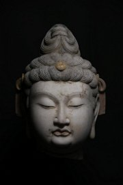 A CHINESE VINTAGE BUDDHA HEAD STONE STATUE