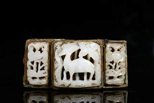A CHINESE VINTAGE WHITE JADE BELT BUCKLE
