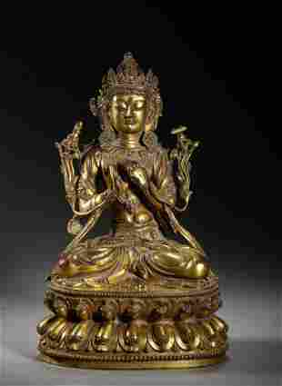 A CHINESE VINTAGE GILT BRONZE BUDDHA STATUE