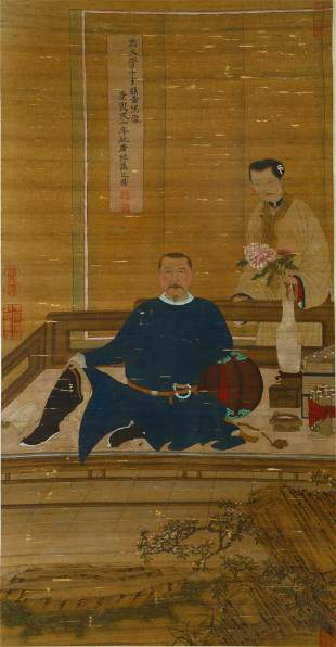 A VERTICAL HANGING PORTRAIT PAINTING SCROLL