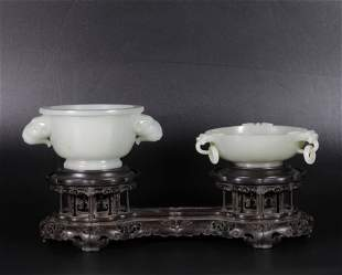 A SET OF WHITE JADE DECORATIVE DISPLAY ITEMS