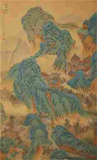 A CHINESE VERTICAL LANDSCAPE PAINTING SCROLL
