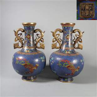 A PAIR OF CHINESE CLOISONNE BRONZE VASES