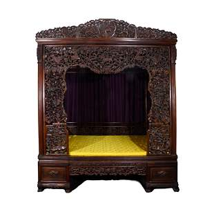 A QING DYNASTY RED HARDWOOD SHELVING BED