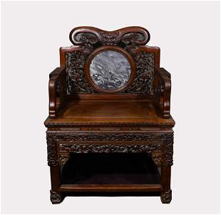A QING DYNASTY RED HARDWOOD GRAND MASTER CHAIR