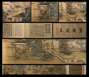 A CHINESE PAINTING HORIZONTAL HAND SCROLL