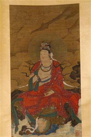 A CHINESE PAINTING SCROLL OF GUANYIN