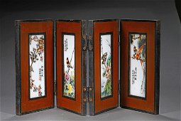 A CHINESE HAND-PAINTED PORCELAIN DISPLAY SCREEN