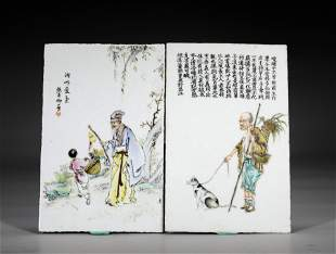A PAIR OF CHINESE HAND-PAINTED PORCELAIN PLAQUES