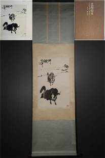 A CHINESE HAND-PAINTED HANGING SCROLL INK PAINTING