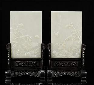 A PAIR OF CHINESE WHITE JADE TABLE DIPLAY SCREENS