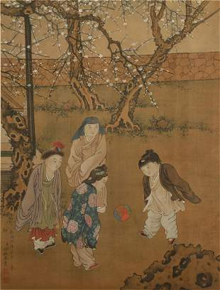 A CHINESE HAND-PAINTED HANGING SCROLL PAINTING ON SILK