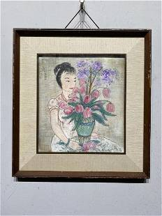 A RAMED HAND-PAINTED CHINESE LADY PORTRAIT PAINTING