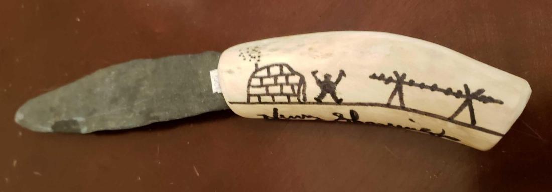Etched Bone Handle Knife With Slate Blade