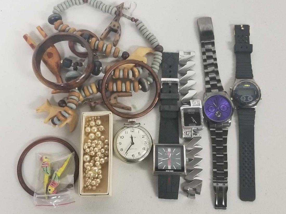 Assorted jewlery including two Gucci watches