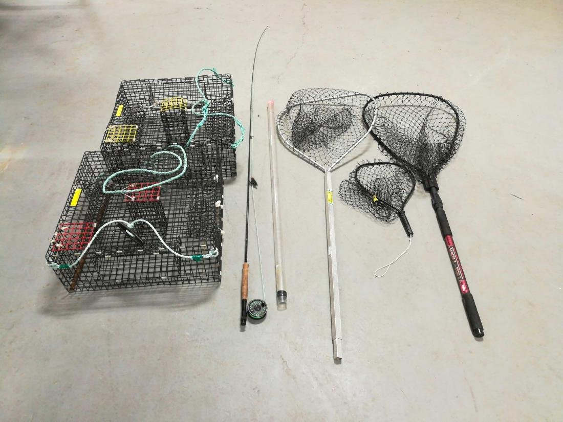 Shrimp pots, fly fishing rod & fishing nets