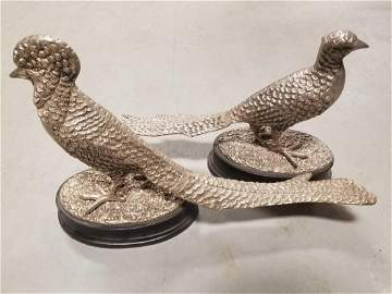Pair of continental cast pewter pheasants
