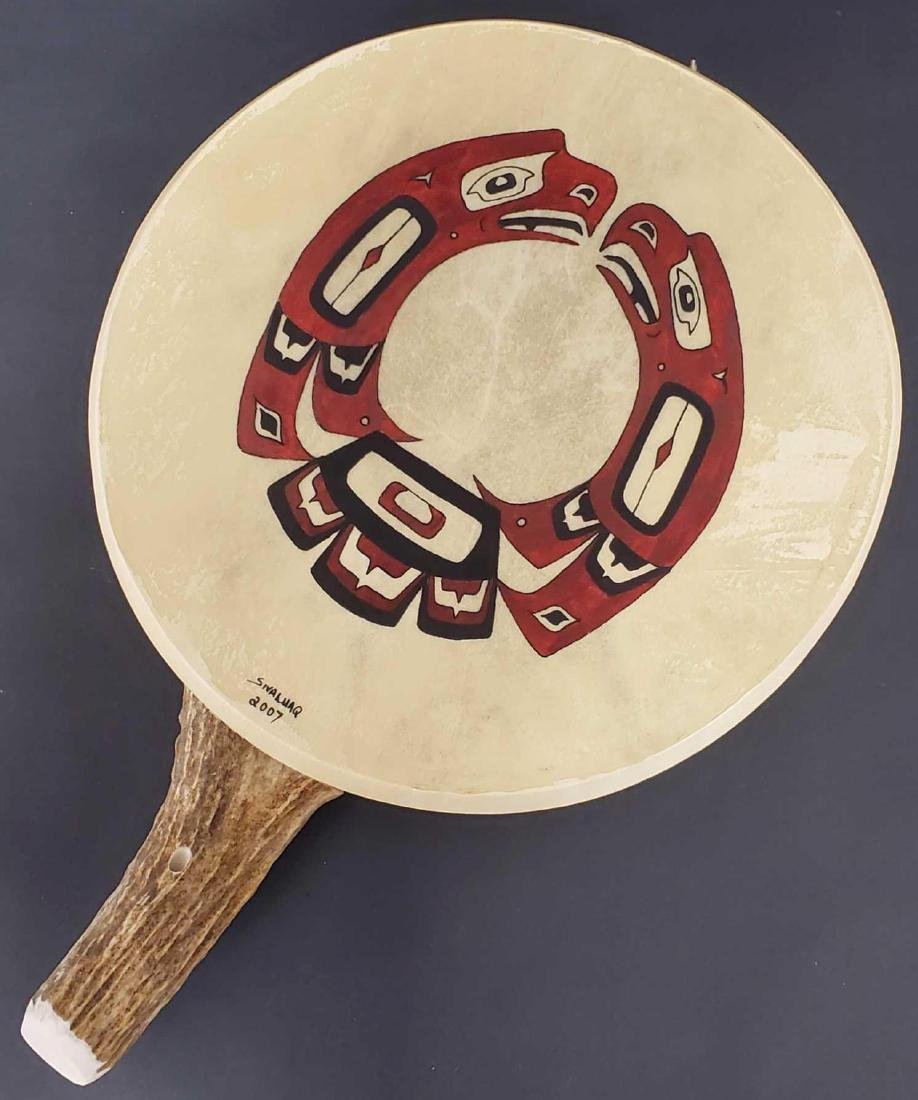 Painted Tlingit motif drum by Yup'ik Eskimo Jerry Lieb