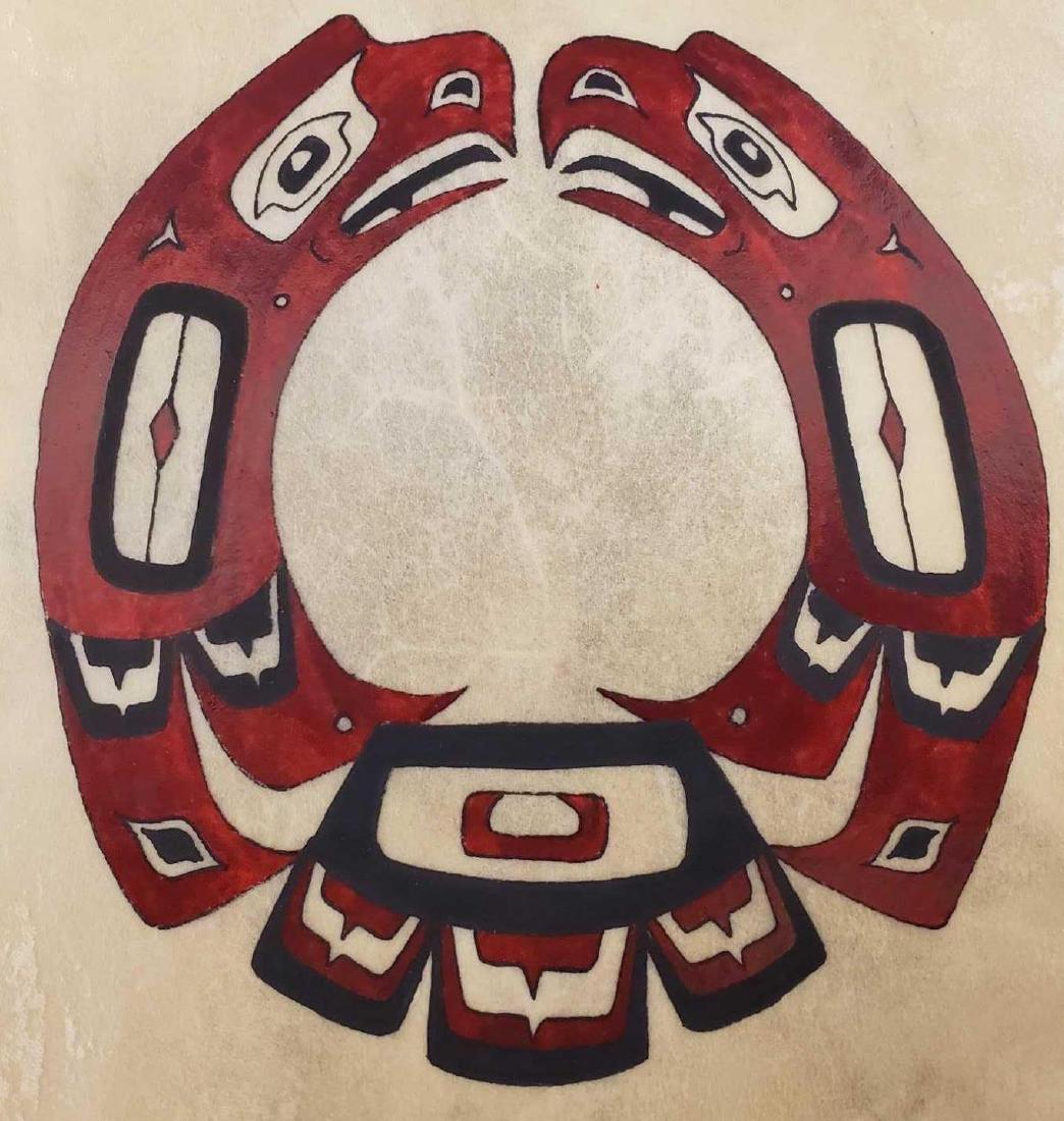 Painted Tlingit motif drum by Yup'ik Eskimo Jerry Lieb - 2