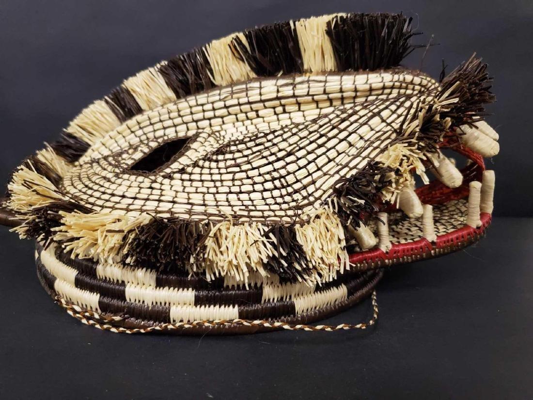 Two Panamanian handmade Embera tribe woven masks - 2