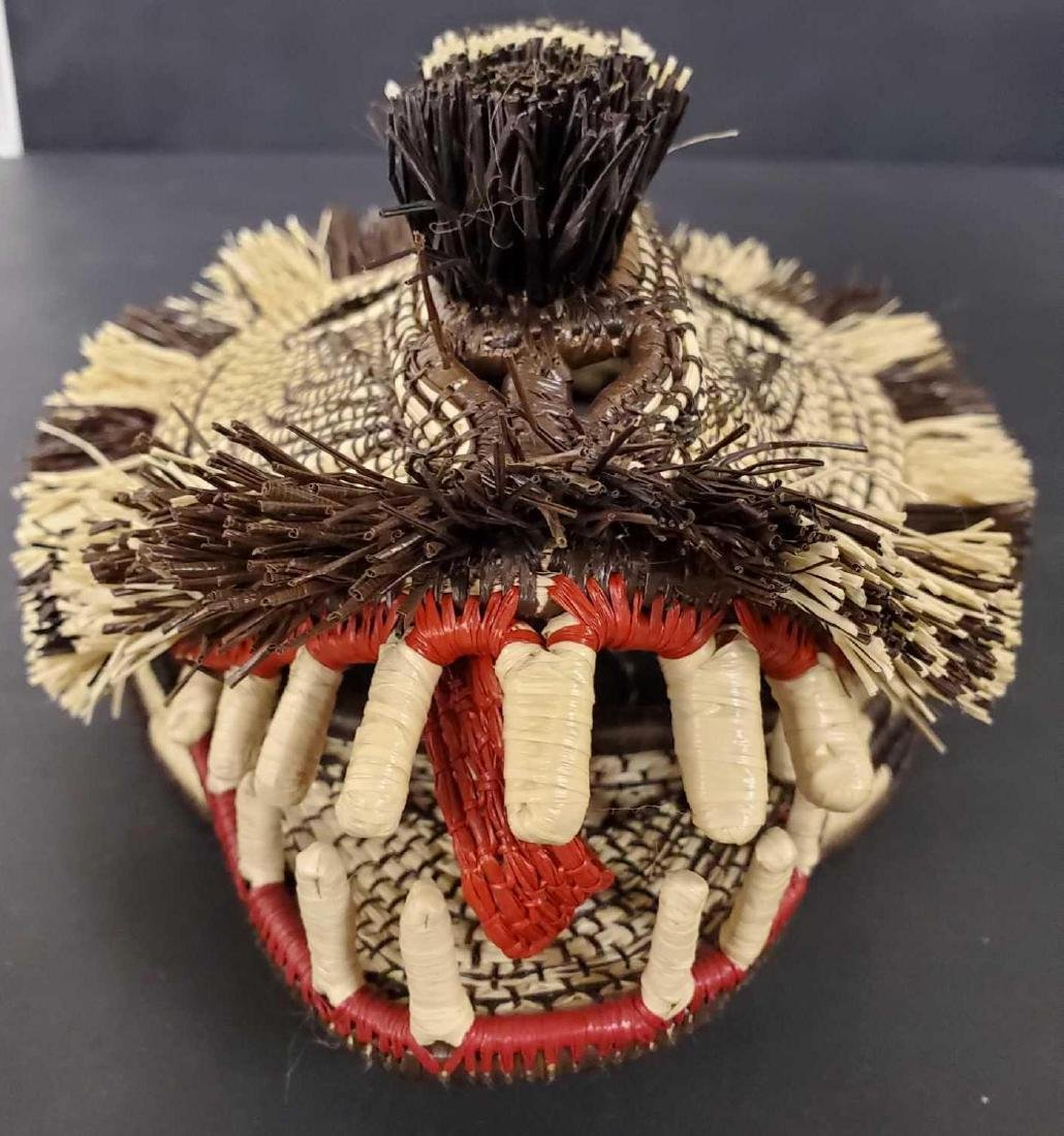 Two Panamanian handmade Embera tribe woven masks - 3