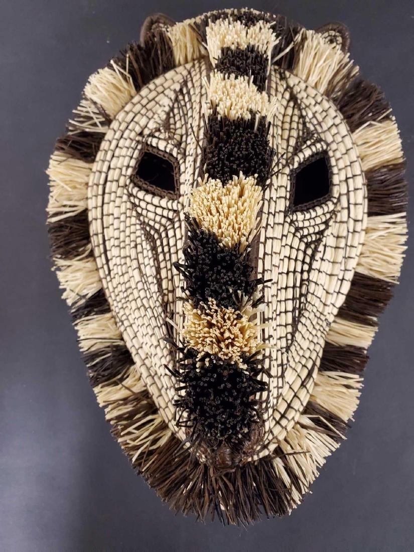 Two Panamanian handmade Embera tribe woven masks - 4