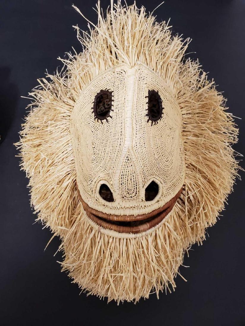 Two Panamanian handmade Embera tribe woven masks - 5