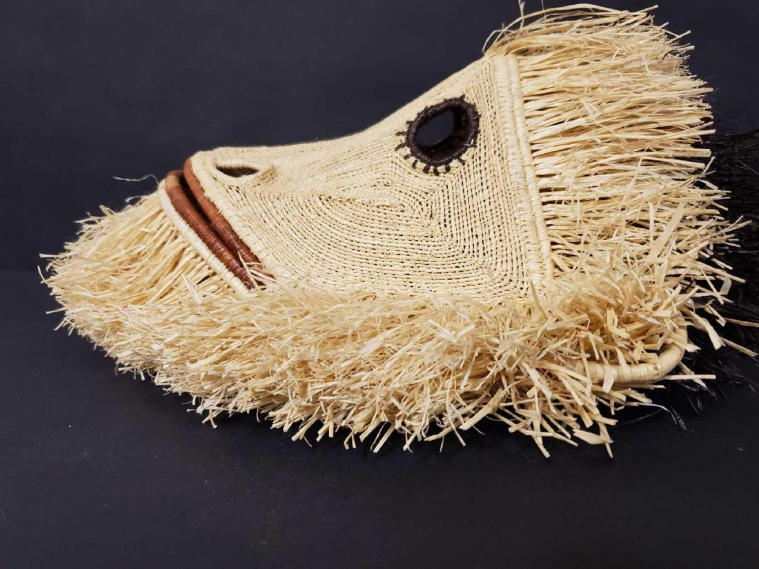 Two Panamanian handmade Embera tribe woven masks - 6