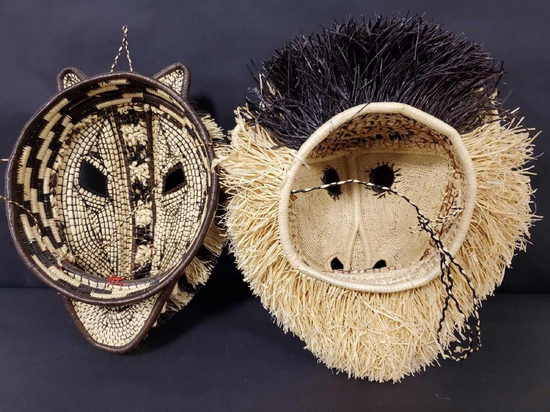 Two Panamanian handmade Embera tribe woven masks - 7