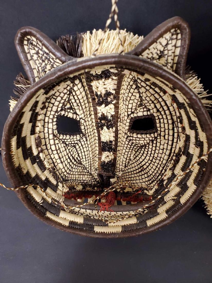 Two Panamanian handmade Embera tribe woven masks - 8