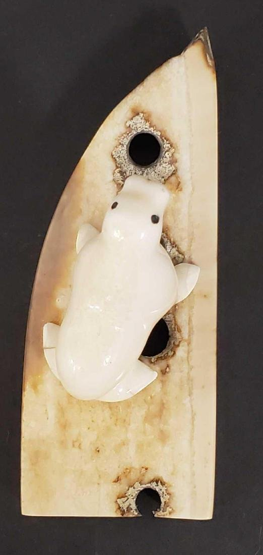 Eskimo carved walrus on artifact base by L. Kingeekuk - 4