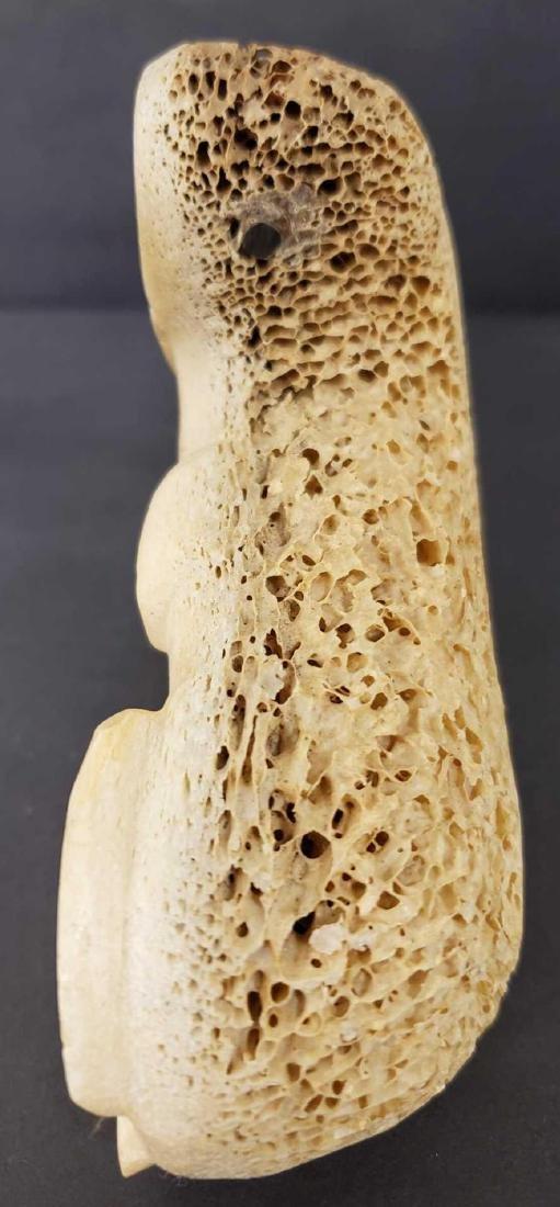 Eskimo carved whalebone walrus with baleen eyes - 3