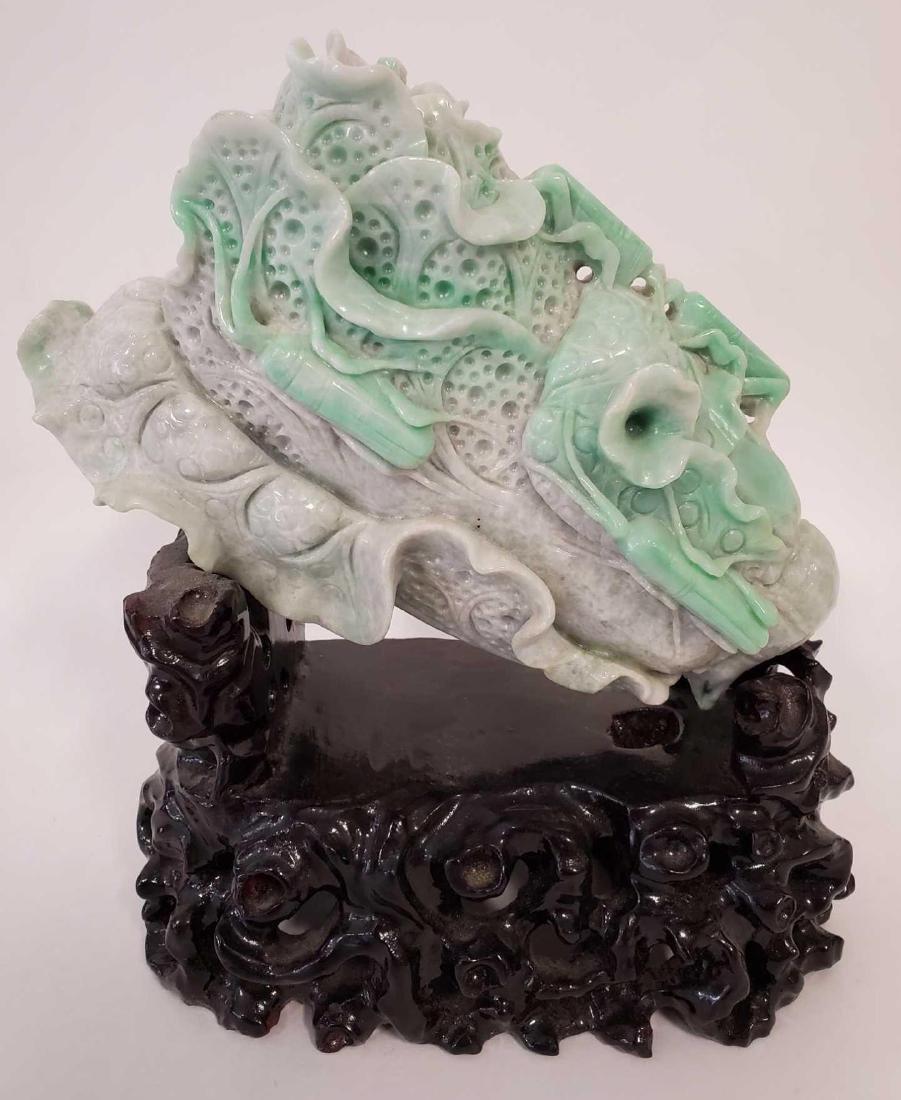 Large Chinese Jadeite carving of Lotus