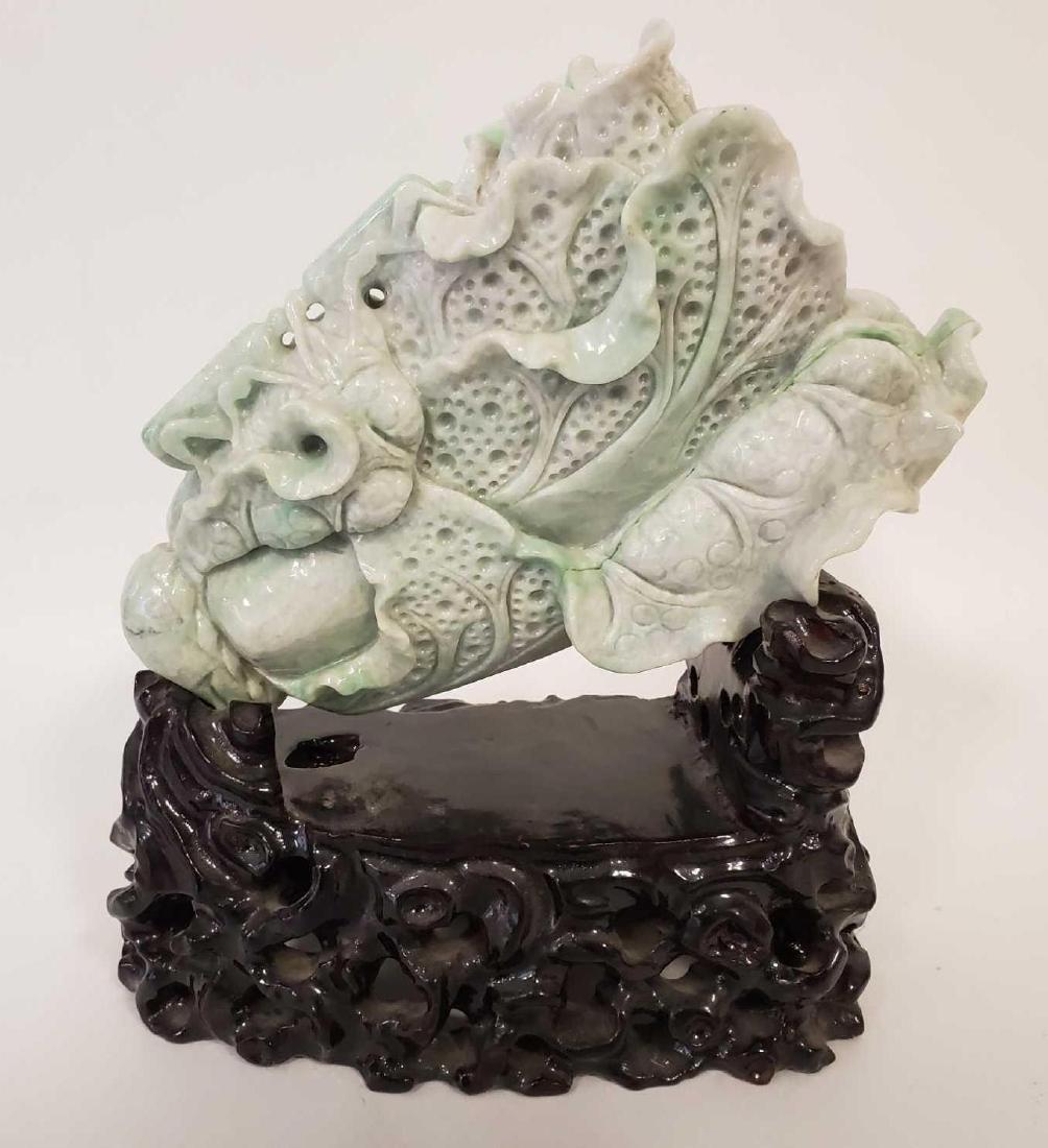 Large Chinese Jadeite carving of Lotus - 2