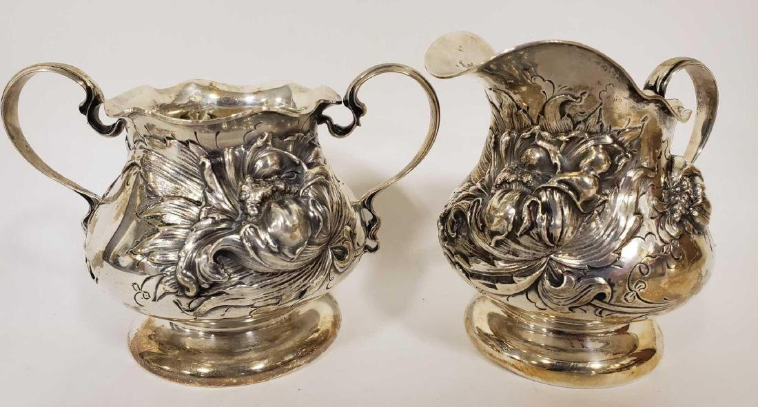 George Shiebler Flora sterling silver cream and sugar