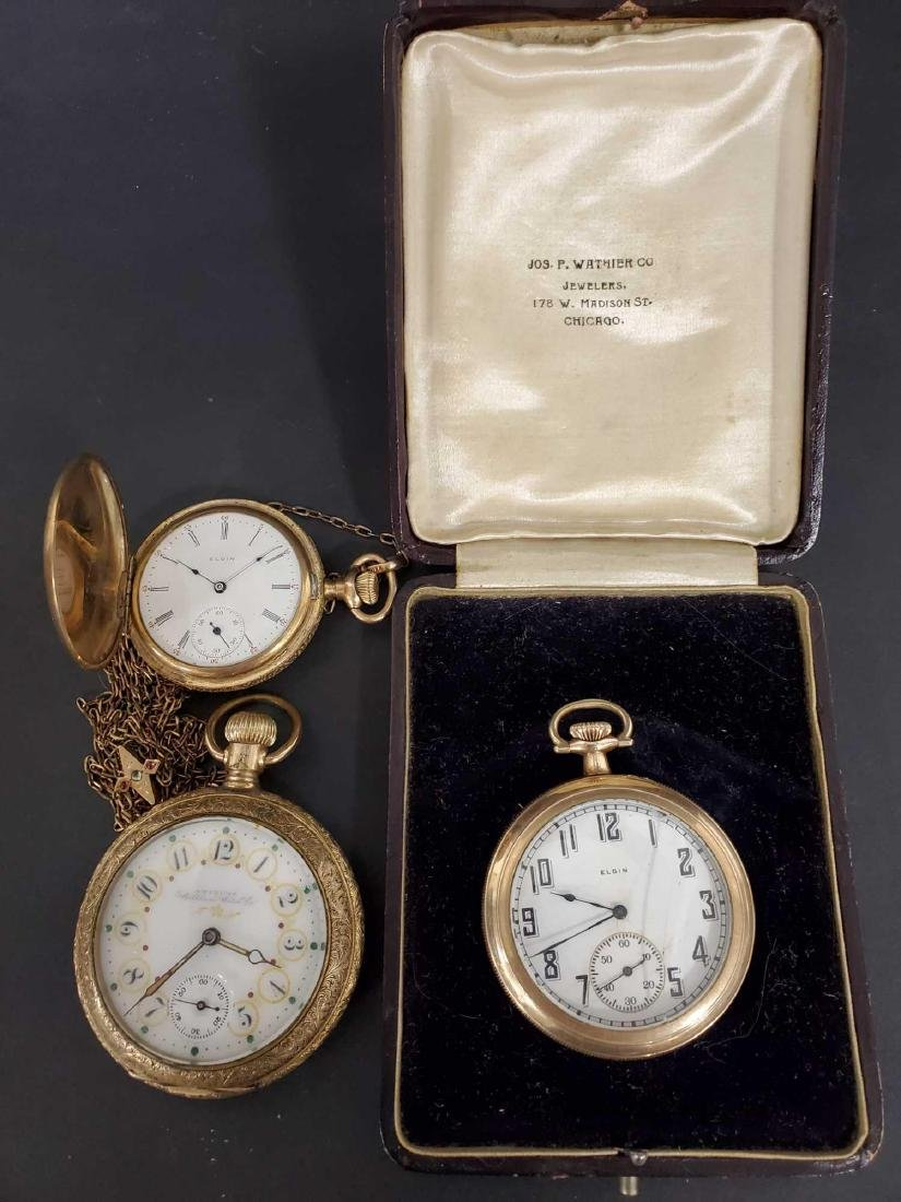 Three American gold filled pocket watches