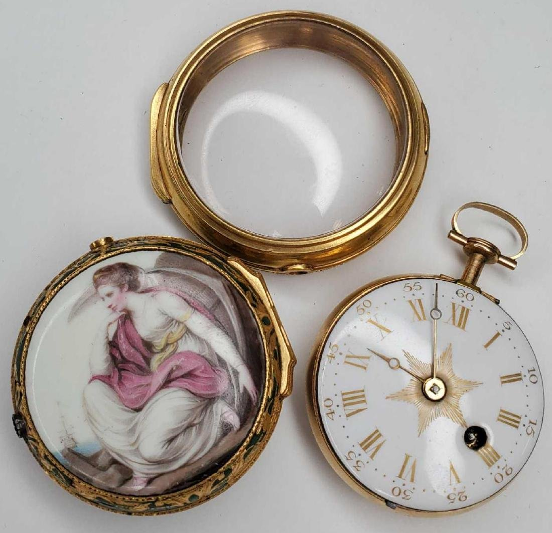 Tho. Lozano Royal Navy gold fusee portrait pocket watch