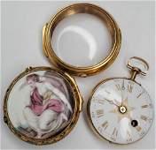 Tho. Lozano Royal Navy gold fusee portrait pocket watch