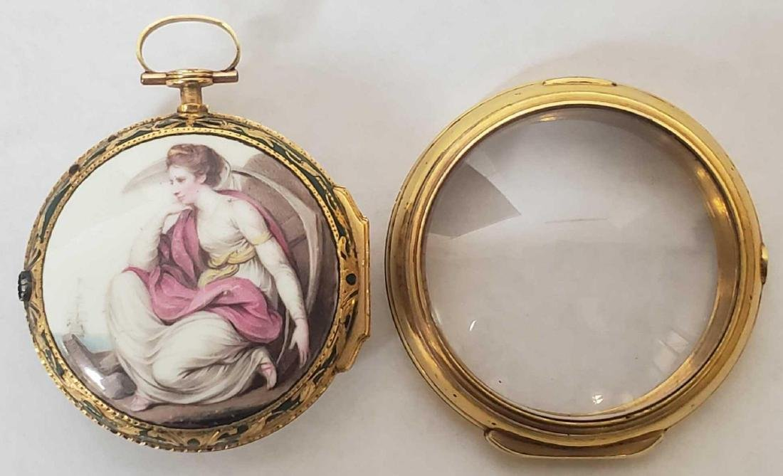 Tho. Lozano Royal Navy gold fusee portrait pocket watch - 2